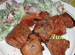 Шашлык в луково-кефирном маринаде с киви
