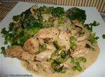 Куриная грудка в винно-сливочной подливе с зеленым горошком (Panasonic SR-TMH 18)