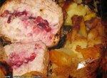 Мясо клюквинка запеченое в рукаве
