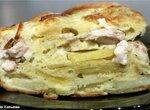 Пирог заливной с курицей и картофелем
