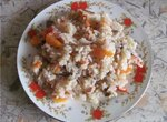 Рис с замороженными  и свежими овощами  (мультиварка Aurora)