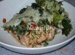 Сёмга запечённая с броколли и шпинатом