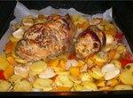Свинина запеченная с тыквой, шафраном и розмарином.