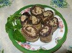 Баклажановые рулетики с ореховой начинкой