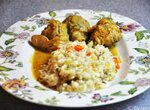 Цыпленок карри с овощным ризотто