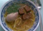 Суп куриный с печенью и гренками
