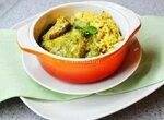 Филе индейки с шалфеем в сырно-шпинатном соусе с овощным ризотто из булгура и квиноа