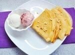 Блинчики цельнозерновые десертные с мороженым и легким творожным сыром