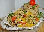 Мидии с овощами в белом соусе