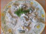 Равиоли с куриной печению и шпинатом и слиочно-сырным соусом