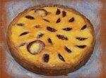 Сливовый пирог с ванильным пудингом