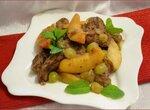 Горячий салат из куриной печени с фруктами