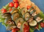 Кальмары с овощами, копченые на шпажках  в коптильне Brand 6060