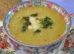 Суп-пюре с сельдереем, кабачками, грушей, с мятной гремолатой в процессоре Oursson