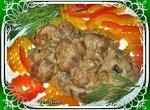 Куриная печень с грибами (мультиварка Brand 37501)