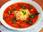 Томатный суп с кукурузой и копченостями