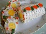 Праздничный салат-желе с овощами, ветчиной и яйцом