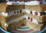 Торт бисквитный с легким сметанным кремом и виноградом в мультиварке Panasonic