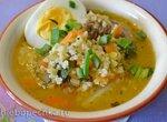 Суп «горох, чечевица, пшено» с яйцом