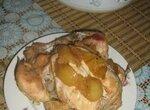 Запеченная  курица с яблоками и медом Курочка-гламурочка