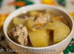 Густой суп картофель с индейкой в скороварке Steba