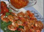Креветки гриль с острым соусом
