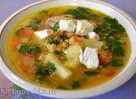 Суп чечевичный со шпинатом и козьим сыром