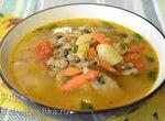 Грибной суп с копчеными ракушками