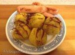 Картофель Hasselback с сосисками