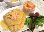 Жареная камбала  в кляре с креветками и с апельсиновым хреном (Scholle mit Krabben mit Orangen Meerrettich Sauce)
