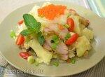 Картофель отварной, с копченой рыбой