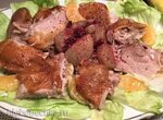 Утка по-фриландски,  фаршированная грушами и печенью(Vierlaender Ente mit Birnen-Leber-Fuellung)