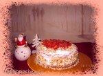 Пирог (торт) из киселя с фруктовой начинкой и сливками