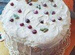 Торт черемуховый со сметанным кремом и кедровым дакуазом