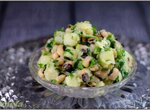 Теплый салат с картофелем и фасолью