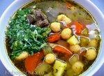 Аш Тана Итенен (суп с говяжьей грудинкой и клецками из гороховой муки)