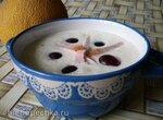 Дынный холодный суп с ветчиной и маслинами