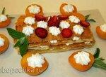 Торт вафельный  рисово-кокосовый мильфёй с кремом и абрикосом