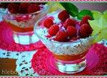 Рисовый пудинг на мороженом с мятным оттенком, кунжутом и фруктами