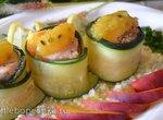 Семга в кабачках (цукини) на пару, под манговым соусом