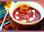 Холодный свекольный суп с копчёным палтусом