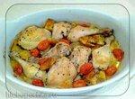 Курица с чиабаттой и помидорами, запеченая в духовке