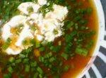 Холодный суп с крабовыми палочками на квасе
