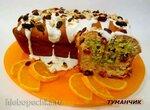 Кекс апельсиново-клюквенный под глазурью с клюквой и орехами
