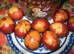 Пасхальные яйца, крашенные в чулке