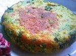 Пирог-омлет с яйцами и зелёным луком в мультиварке или духовке