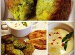 Тефтельки из брокколи, горошка, кукурузки и зелени с мятно-йогуртовым соусом
