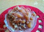 Десерт из  яблок с хрустящей крошкой (медленноварка)