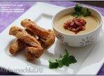 Чечевичный суп-пюре с беконом и слоёными палочками с мраморной свининой (суповарка Smile 3700)