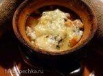 Топинамбур с раковыми шейками и сыром с голубой плесенью в горшочке